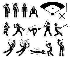 Actions de joueur de baseball pose des icônes de pictogramme de bonhomme allumette. vecteur