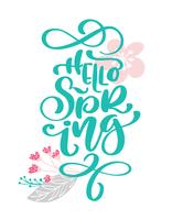 Bonjour printemps texte dessiné à la main et la conception de carte de voeux