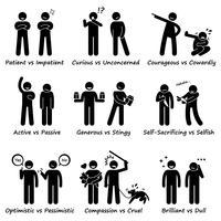 Personnalités humaines des valeurs opposées positives et négatives icônes de pictogramme de bonhomme allumette. vecteur