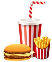 Déjeuner avec hamburger et frites vecteur