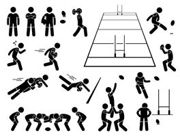 Actions de joueur de rugby pose des icônes de pictogramme de bonhomme allumette. vecteur