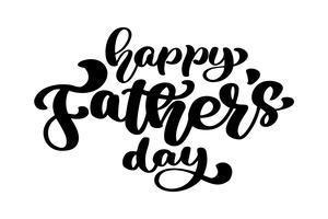 Insigne de fête des pères heureux sur fond blanc. Étiquette pour carte de fête. Illustration vectorielle monochrome