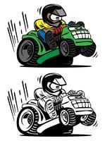 Illustration vectorielle de dessin animé racing tondeuse à gazon
