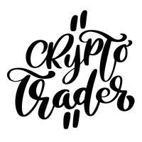 Crypto trader Logo de texte de calligraphie manuscrite
