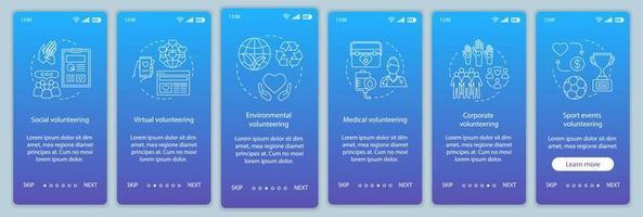 types de bénévolat intégration du modèle vectoriel d'écran de page d'application mobile