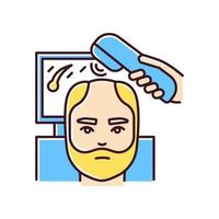 icône de couleur rvb trichoscopie. traitement de la chute des cheveux. diagnostic des maladies du cuir chevelu et des cheveux. alopécie masculine. aide professionnelle perte de cheveux. évaluation dermatologique, médecine. illustration vectorielle isolée vecteur