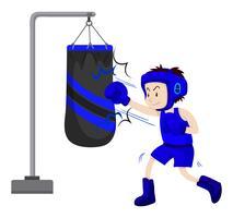 Boxer poinçonnage sur sac de boxe vecteur