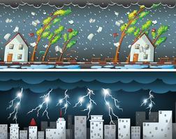 Deux scènes avec des tonnerres et des tempêtes