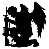 Soldat d'ange militaire avec ailes, illustration vectorielle de silhouette à genoux