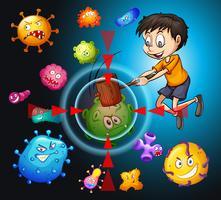 Petit garçon luttant contre les bactéries vecteur