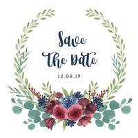 Couronnes aquarelles fleurs peintes à la main avec la bordure de texte, aquarelle de fleurs luxuriantes isolé sur fond blanc. Décor de design pour carte, faites gagner la date, cartes d'invitation de mariage, affiche, bannière.