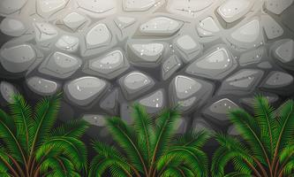 Un mur de pierres avec des plantes vecteur
