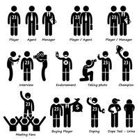 Icônes de pictogramme de bonhomme allumette Sportsman Sport Player Management. vecteur