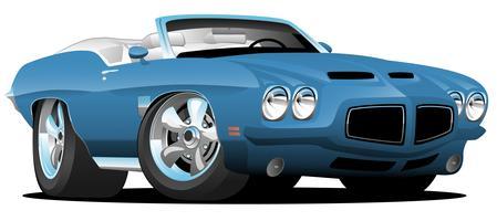 Vecteur de dessin animé de voiture convertible américaine de style classique années soixante-dix
