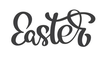 Calligraphie de Pâques dessinés à la main et lettrage au stylo pinceau. Vector Illustration design pour carte de voeux de vacances et pour superpositions de photos, impression de t-shirt, flyer, conception de l'affiche
