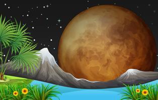 Scène de la nature avec la pleine lune la nuit vecteur