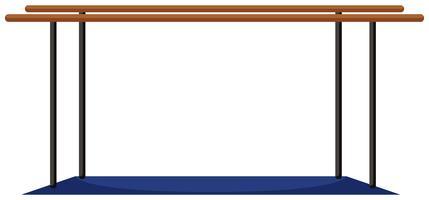 Barres parallèles avec tapis bleu