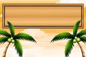 Un panneau en bois vide avec des arbres de noix de coco vecteur
