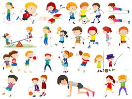 Ensemble d'exercices pour enfants vecteur