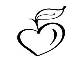 Végétalien arbre de croissance amour coeur logo vector illustration icône, conception de produits alimentaires Lettrage manuscrit pour restaurant, menu cru de café. Collection calligraphique et typographique