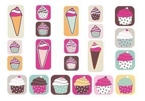 Pack de vignettes Cupcakes et Ice Cream vecteur