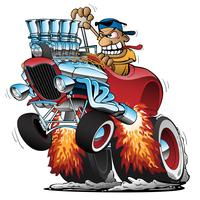 Highboy Hot Rod Race Illustration de dessin animé voiture vecteur