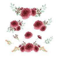 Aquarelle de style vintage isolé sur fond blanc de fleurs de bouquets aquarelle peints à la main de fleurs luxuriantes llustration. Décor de design pour carte, faites gagner la date, cartes d'invitation de mariage, affiche, bannière vecteur