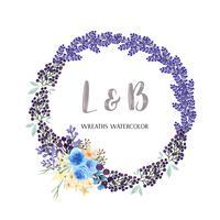 Couronnes aquarelles fleurs peintes à la main avec la bordure de texte, aquarelle de fleurs luxuriantes isolé sur fond blanc. Décor de design pour carte, faites gagner la date, cartes d'invitation de mariage, affiche, bannière. vecteur