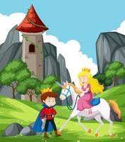 scène fantastique avec prince et princesse vecteur