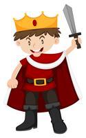 Kid en costume de roi avec épée vecteur