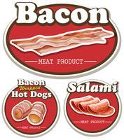 Produit à base de viande avec bacon et salami vecteur