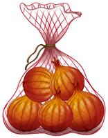 Oignons emballés dans un sac en filet