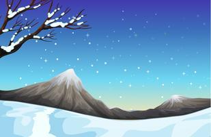 Scène de la nature pendant le temps de neige vecteur
