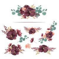 Aquarelle de style vintage isolé sur fond blanc de fleurs de bouquets aquarelle peints à la main de fleurs luxuriantes llustration. Décor de design pour carte, faites gagner la date, cartes d'invitation de mariage, affiche, bannière