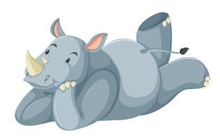 Un personnage de rhinocéros sur fond blanc vecteur