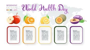 Collection de fruits pour la journée mondiale de la santé. vecteur