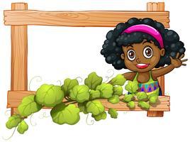 Un cadre avec des plantes et une fille noire en agitant vecteur