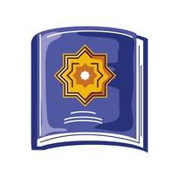 livre coran sacré ramadan arabe islamique dessin animé style isolé vecteur