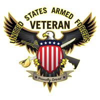 Ancien combattant des forces armées des États-Unis, fièrement servi Illustration vectorielle de l'aigle à tête blanche