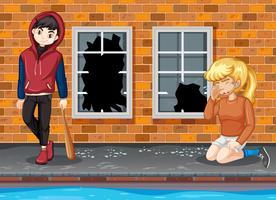 Gangter garçon et fille qui pleure vecteur