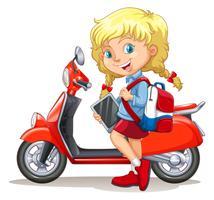 Fille blonde et moto vecteur