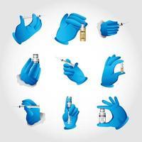 mains portant des gants en caoutchouc pour le traitement du coronavirus de la grippe ou du covid 19 vecteur