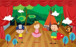 enfants sur une scène sur un beau fond vecteur