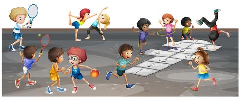 Beaucoup d'enfants pratiquant différents sports vecteur