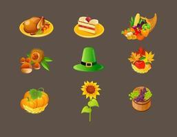Pack de vecteurs d'icônes de Thanksgiving