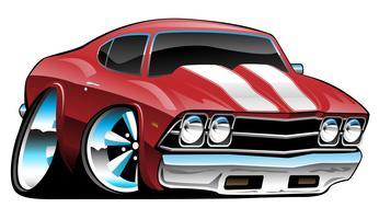 Caricature classique américain Muscle Car, rouge vif, illustration vectorielle