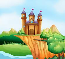 Scène avec des tours de château sur la falaise