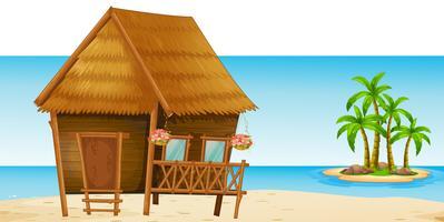 Cabane en bois sur la plage vecteur