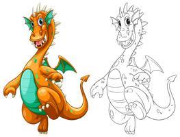 Dessin doodle pour dragon avec ailes vecteur
