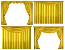 Rideaux jaunes en quatre styles vecteur